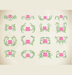 Elegant pink ornament set vector