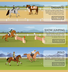 Equestrian sport flat horizontal banners vector