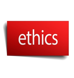 Ethics red square isolated paper sign on white vector