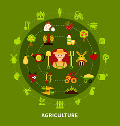 farmer agriculture round composition vector image vector image