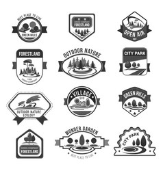 Green nature city parks company icons set vector