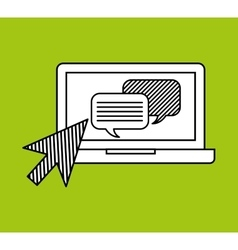 Hand draw laptop message social network media vector