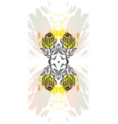 Hand made graphic abstract floral mirror vector