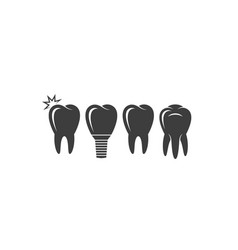 Human tooth icon set vector