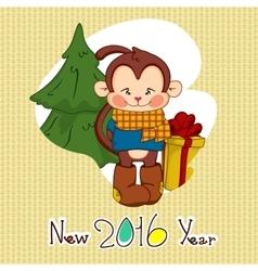 Image christmas cute monkeys frames vector