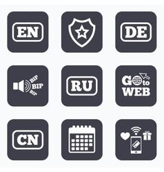 Language icons en de ru and cn translation vector