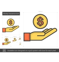 Money insurance line icon vector