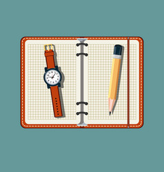 office stuff with notepad and watch vector image