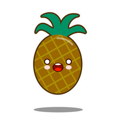 pineapple apple fruit cartoon character icon vector image vector image