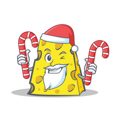 Santa cheese character cartoon style with candy vector