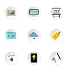 Seo icons set flat style vector