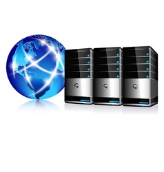 Servers and Communication Internet World vector image vector image