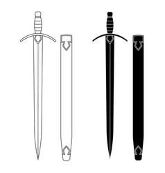 set of swords with scabbard vector image vector image