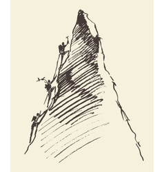 Sketch people climbing mountain peak vector image vector image