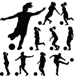 soccer women silhouette girl player vector image vector image