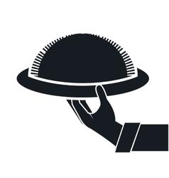 Waiter hand holding a platter vector