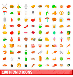 100 picnic icons set cartoon style vector