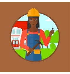 Cheerful builder with hammer vector