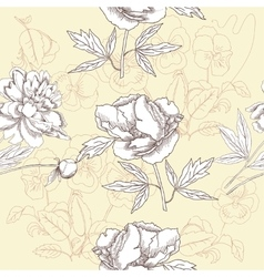 Seamless pattern with peonies and pansies vector image