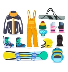 Snowboarding winter sports equipment set vector