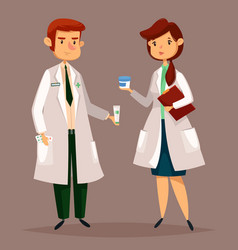 Pharmacist and woman druggist with pills tablets vector