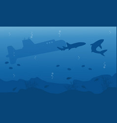 Silhouette of submarine and shark ob blue sea vector