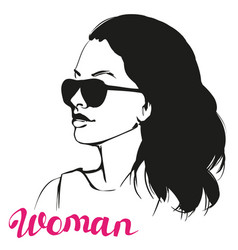 Girl in sunglasses  beautiful woman face vector