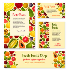 Templates set for exotic fresh fruits shop vector