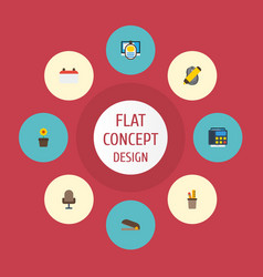 Flat icons highlighter puncher armchair and vector