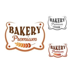 Premium bakery retro signboard with wheat vector