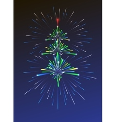 New year tree shaped fireworks vector