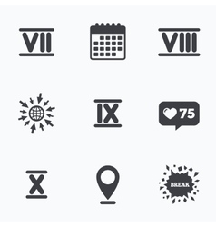 Roman numeral icons number seven nine ten vector