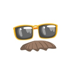 Fake moustache and glasses disguise set vector