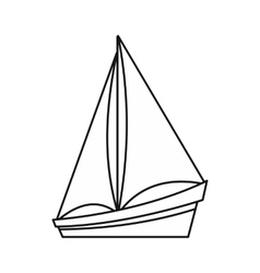 Small yacht icon outline style vector