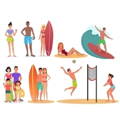 People and couples on active sport vacation beach vector