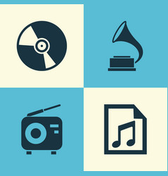 Audio icons set collection of phonograph file vector
