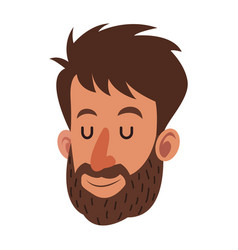 Avatar face man beard close eyes vector
