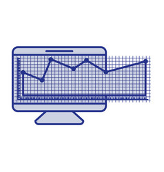 Blue silhouette of screen monitor and financial vector