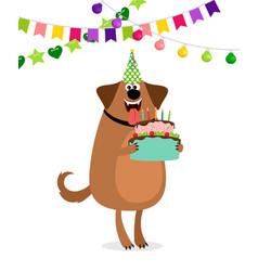Cartoon dog and cake birthday card vector