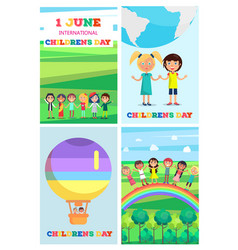 children s special day colorful poster of four vector image