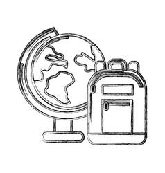 Contour earth plenet desk with study bag vector