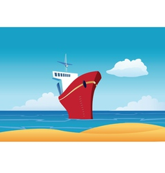 cruise ship beach vector image vector image