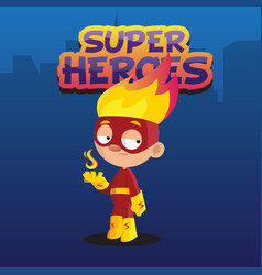 cute funny boy character in colorful superhero vector image vector image