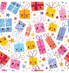 Cute gifts wrapping paper seamless pattern vector