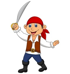 Cute pirate kid cartoon vector