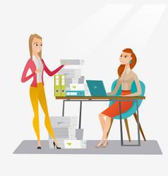 employee receiving lot of paperwork vector image vector image
