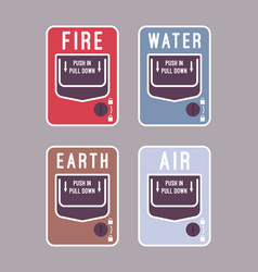 Fire water air and earth alarm vector