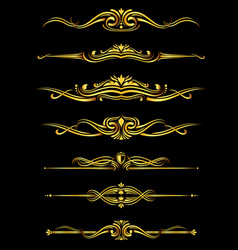 golden ornate borders set black background vector image