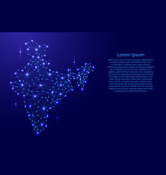 india map of polygonal mosaic lines rays vector image
