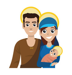 joseph and mary with baby jesus cartoon vector image